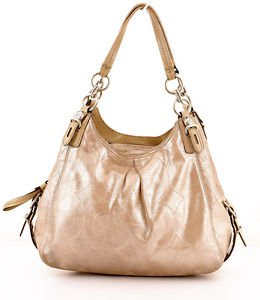 Coach 15727 Mia sateen Maggie Shimmer gold shoulder bag purse