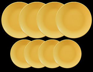 DINNERWARE 4 ceramic Dinner plates with 4 ceramic side plates matte yellow
