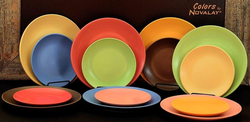 DINNERWARE Ceramic Dinner plates Sets of 4! Lovely matte colors! Kitchen plates