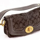 Coach Legacy Jacquard Signature Black Flap Handbag purse 10335