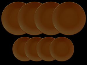 DINNERWARE 4 Dinner plates matte Chocolate Brown with 4 side plates