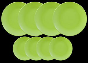 DINNERWARE 4 Dinner plates matte green & 4 side dishes, KITCHEN PLATES