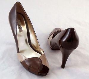 ALFANI Shoes Open toe brown patent leather heels shoes peep toe 7.5M