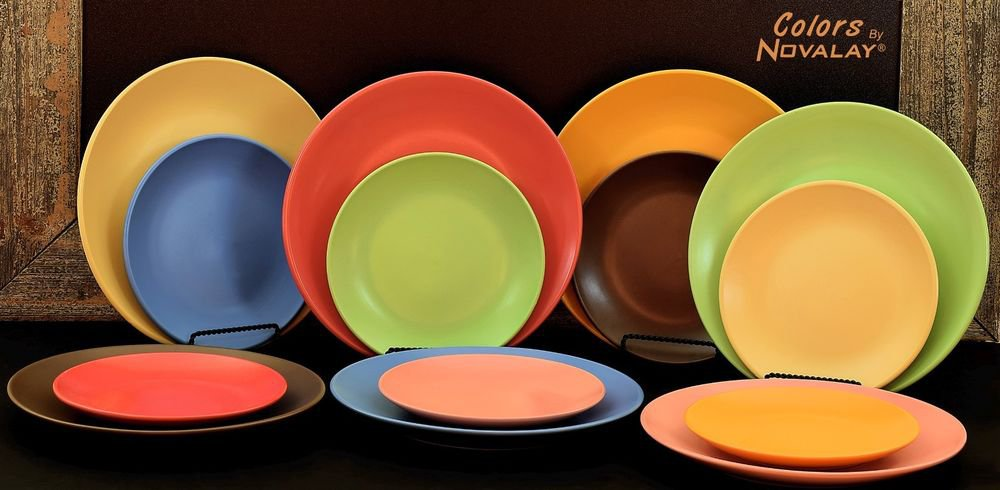 DINNERWARE 12 Ceramic dinner plates Lovely matte colors! 3 sets of 4, any color!