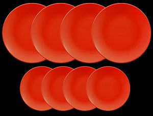 DINNERWARE 4 Dinner plates red matte ceramic with 4 ceramic side plates