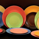 DINNERWARE FOUR ceramic Dinner plates, matte colors! Set of 4 KITCHEN PLATES