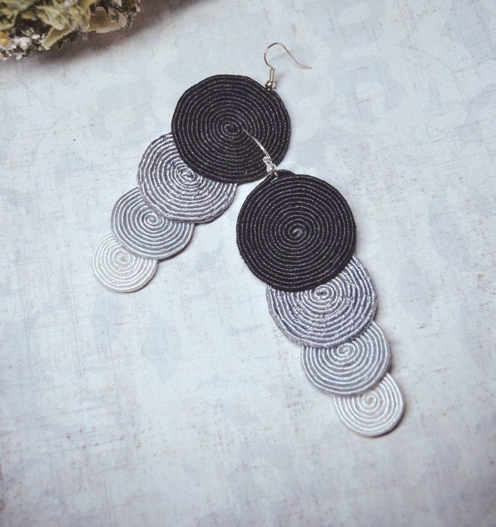 Soutache dangle earrings, Grey and black earrings, Embroidered earrings, Long earrings