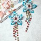 Soutache stud earrings, Flowers earrings with crystals, Embroidered earrings, Crystal earrings