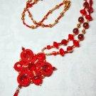 Soutache pendant, Red ang gold pendant, Embroidered pendant, Boho pendant, Crystal pendant
