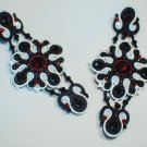 Soutache stud earrings, Black, red and white earrings with crystal, Embroidered earrings