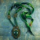 Soutache pendant, Green and bronze pendant with apatite, Embroidered pendant. Evening pendant
