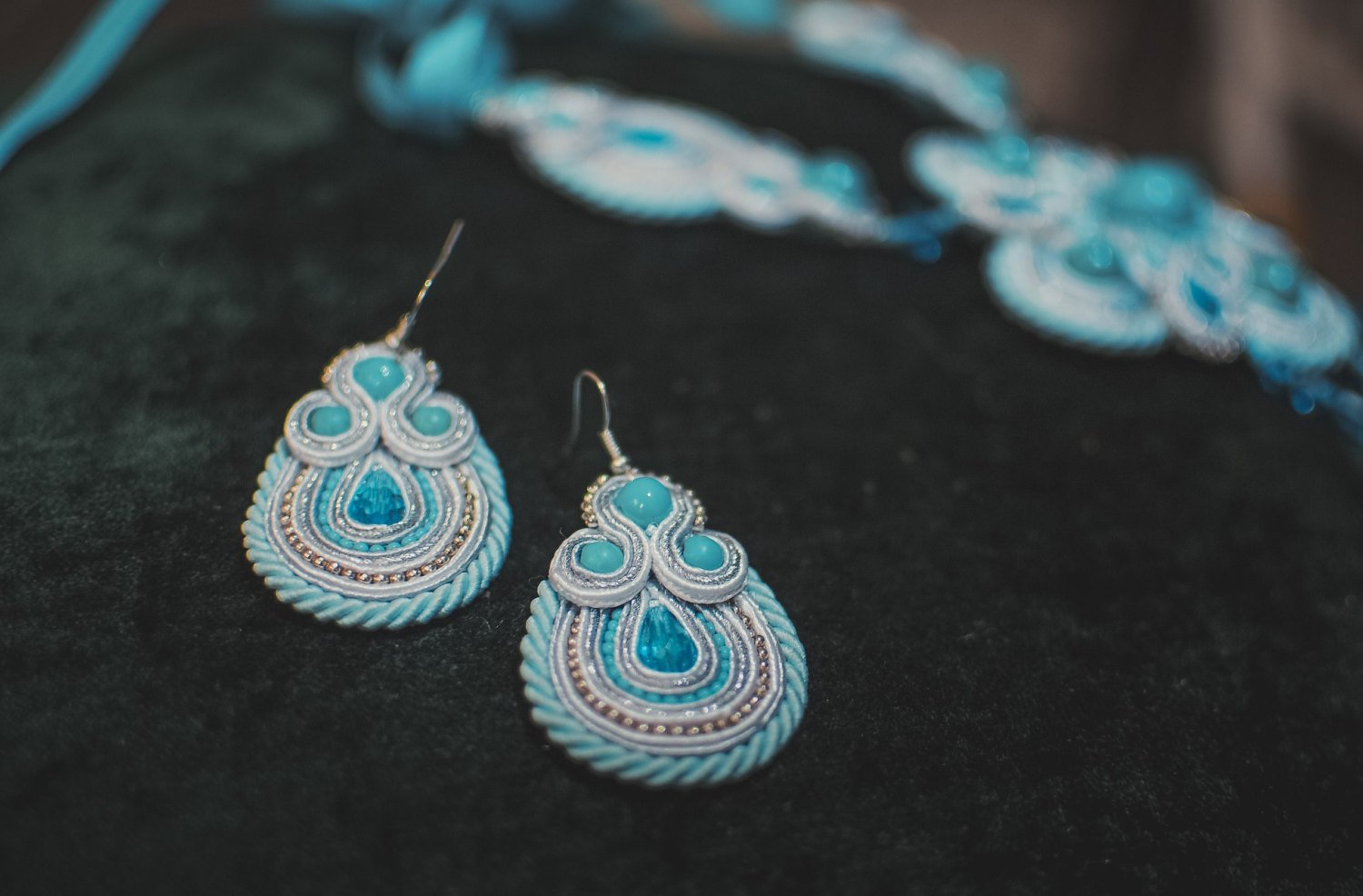 Soutache dangle earings, Blue, white and silver earrings with crystal, Embroidered earrings
