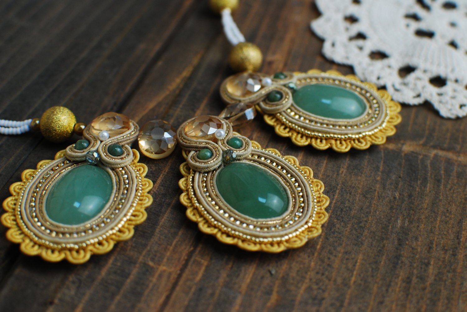 Soutache necklace, Gold and green necklace, Embroidered necklace, Beaded necklace
