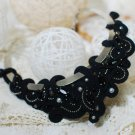 Soutache necklace, Black necklace with crystal, Evening necklace, Embroidered necklace