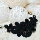 Soutache necklace, Black necklace, Crystal necklace, Embroidered necklace, Beaded necklace