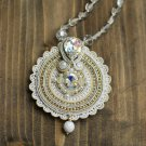 Soutache pendant, white pendant witn Swarowski, Wedding pendant, Embroidered pendant