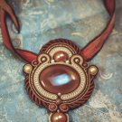 Soutache pendant, Brown and beige pendant with agate, Beaded pendant, Embroidered pendant