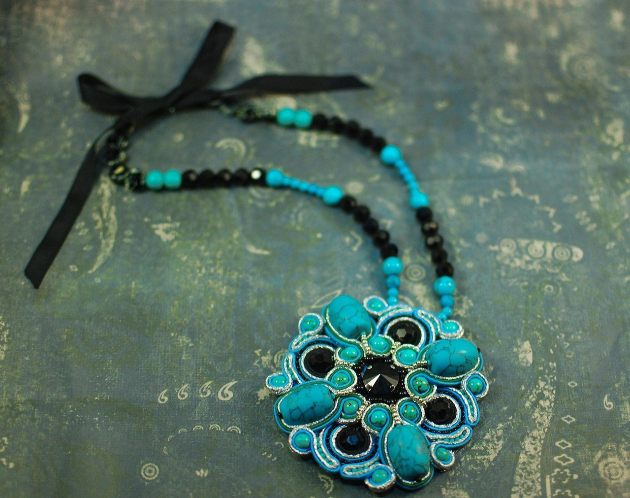 Soutache pendant, Black and turquoise pendant, Beaded pendant, Embroidered pendant, Gift for her