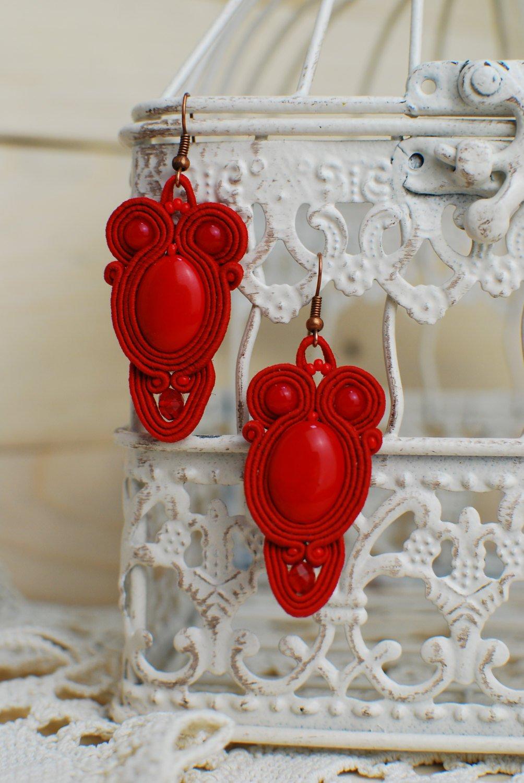 Soutache dangle earrings, Red earrings with coral, Embroidered earrings, Beaded earrings