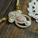 Soutache pendant, Beige and pink pendant with rose quartz, Embroidered pendant, Beaded pendant