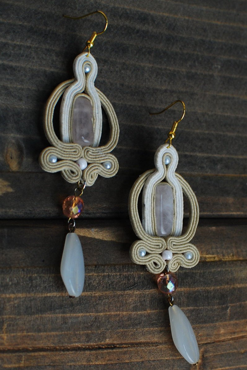 Soutache long earrings, Pink and beige earrings with rose quartz, Embroidered earrings