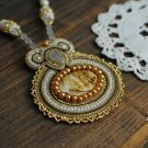 Soutache pendant, Gold and beige pendant with jasper, Embroidered pendant, Beaded pendant