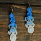 Soutache dangle earrings, Blue and white earrings, Long earrings, Soutache jewelry