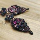 Soutache earrings, Black earrings, Violet earrings, Embroidered earrings, Soutache jewelry