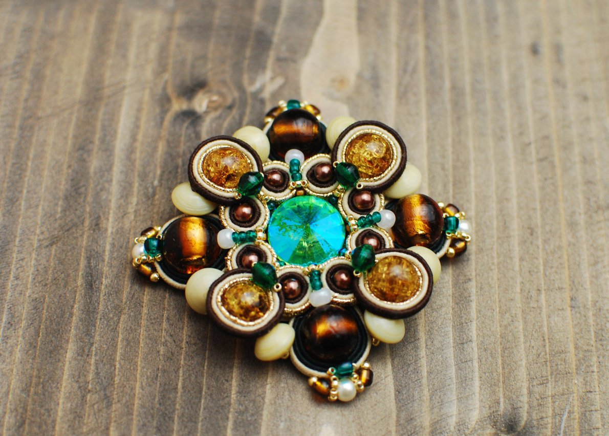 Soutache brooch, Brown, beige and green brooch, Embroidered brooch, Beaded brooch, Soutache jewelry
