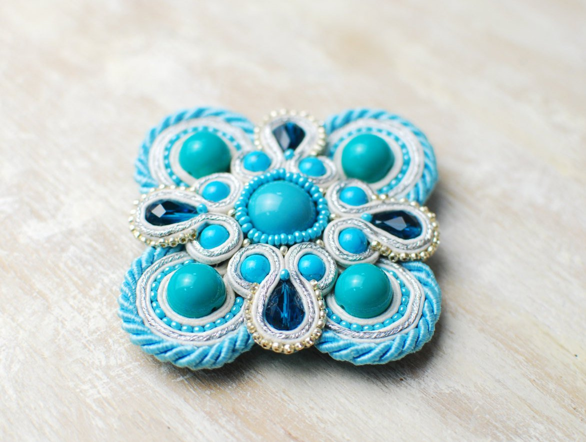 Soutache brooch, Blue, white and silver brooch, Embroidered brooch, Beaded brooch, Soutache jewelry
