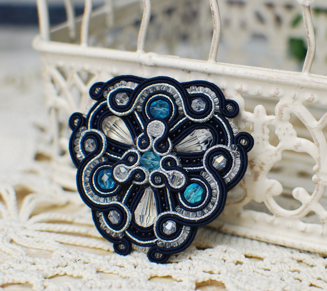 Soutache brooch, Blue and silver brooch, Embroidered brooch, Beaded brooch, Soutache jewelry