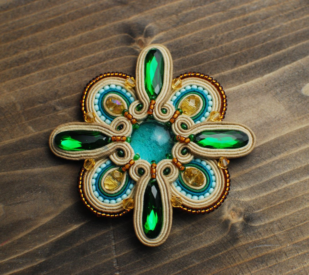 Soutache brooch, Green, beige, turquoise and gold brooch, Embroidered brooch, Beaded brooch
