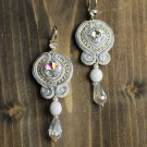 Soutache dangle earrings, White and silver earrings, Embroidered earrings, Beaded earrings