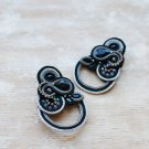 Soutache stud earrings, Black and silver earrings with crystal, Beaded earrings