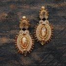 Soutache dangle earrings, Gold and beige earrings, Embroidered earrings, Beaded earrings