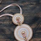 Soutache pendant, Beige and gold pendant, Embroidered pendant, Beaded pendant, Crystal pendant
