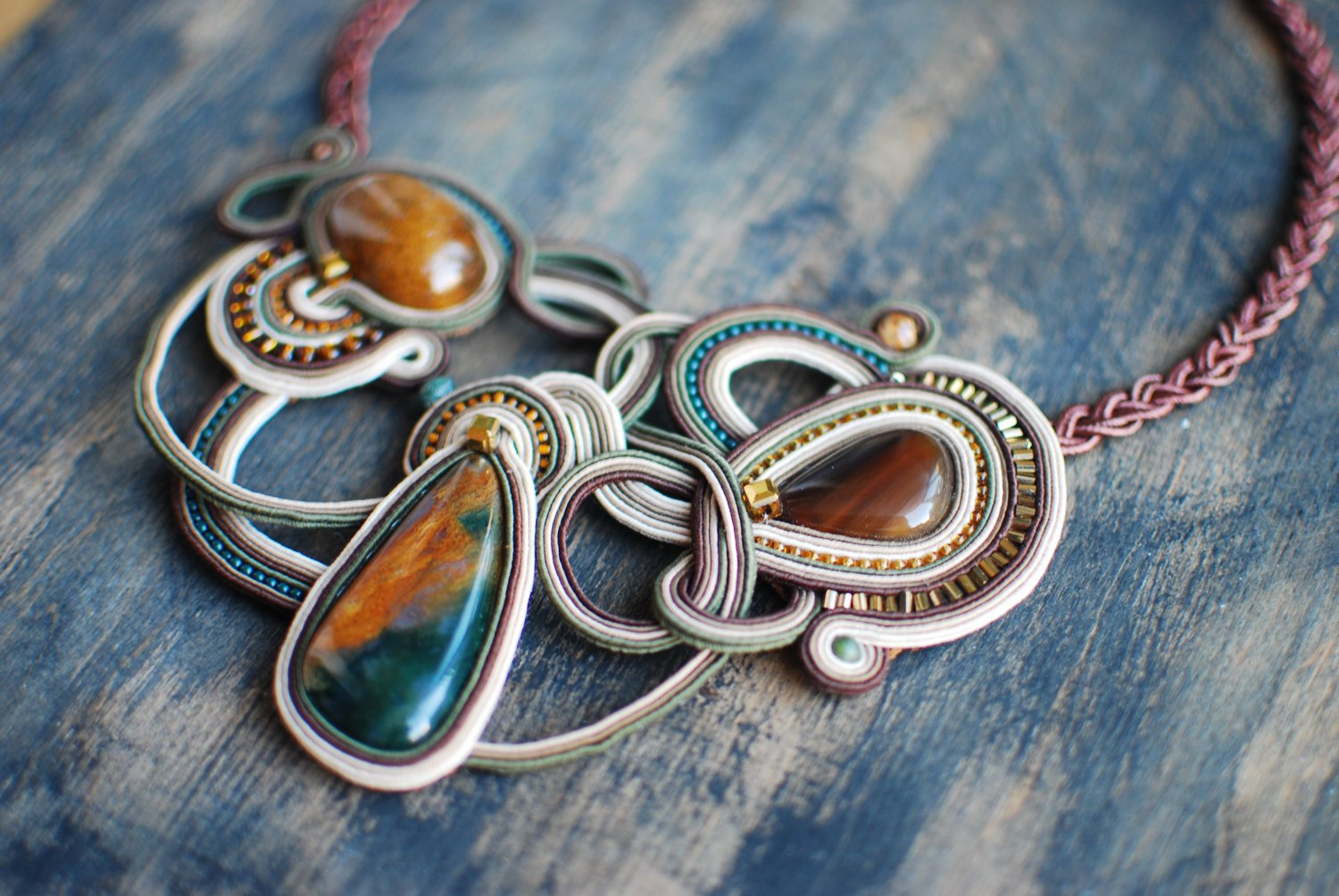 Soutache necklace, Brown, beige and green necklace, Embroidered necklace, Beaded necklace