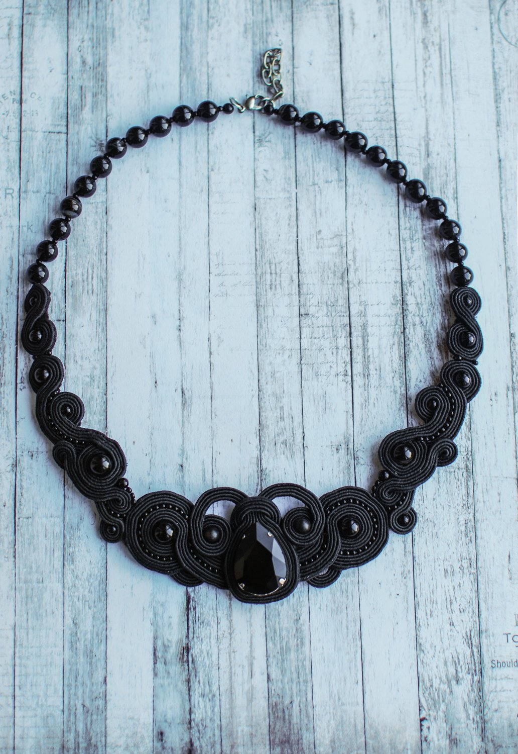 Soutache necklace, Black necklace with agate and crystal, Embroidered necklace, Beaded necklace