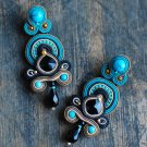Soutache dangle earrings, Black, beige and turquoise earrings, Embroidered earrings, Beaded earrings