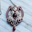 Soutache pendant, Red, burgundy and white pendant, Beaded pendant, Soutache jewelry