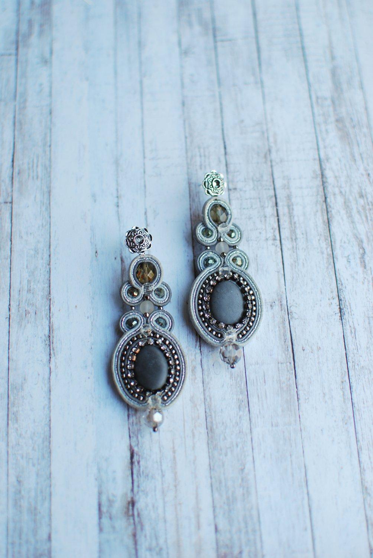 Soutache dangle earrings, Silver earrings with crystal, Embroidered earrings, Beaded earrings