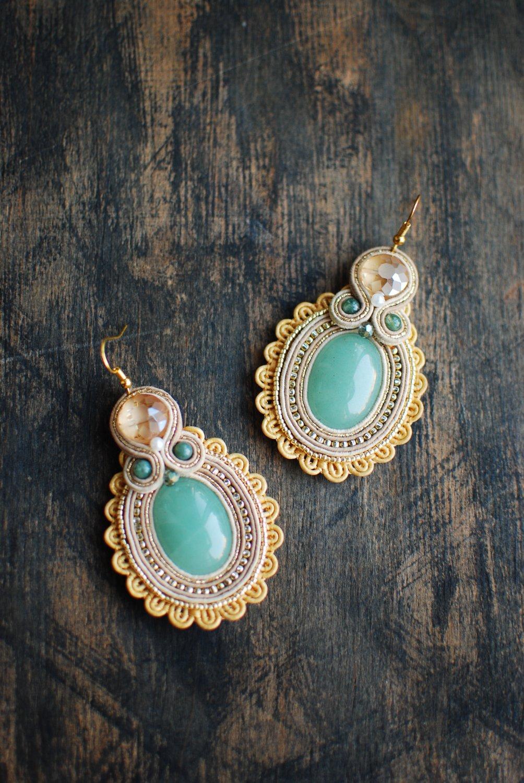 Soutache dangle earrings, Gold and green earrings with aventurine, Soutache jewelry