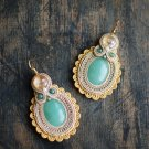 Soutache dangle earrings, Gold and green earrings with aventurine, Soutache jewelry