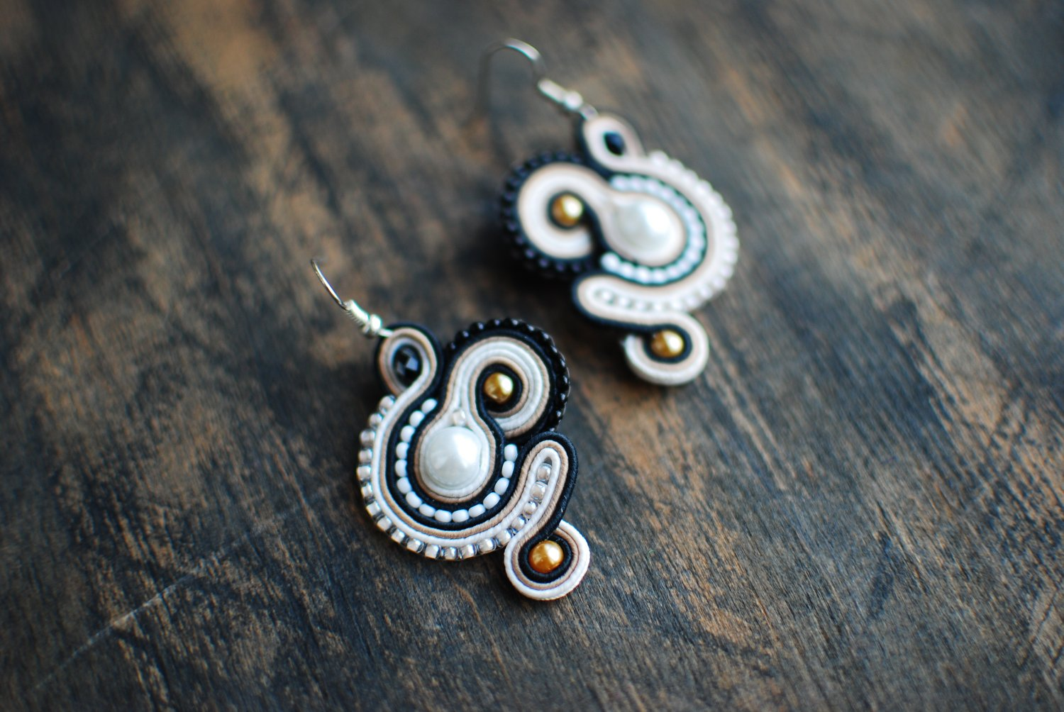 Soutache dangle earrings, Brown, white and black earrings, Soutache jewelry, Embroidered earrings