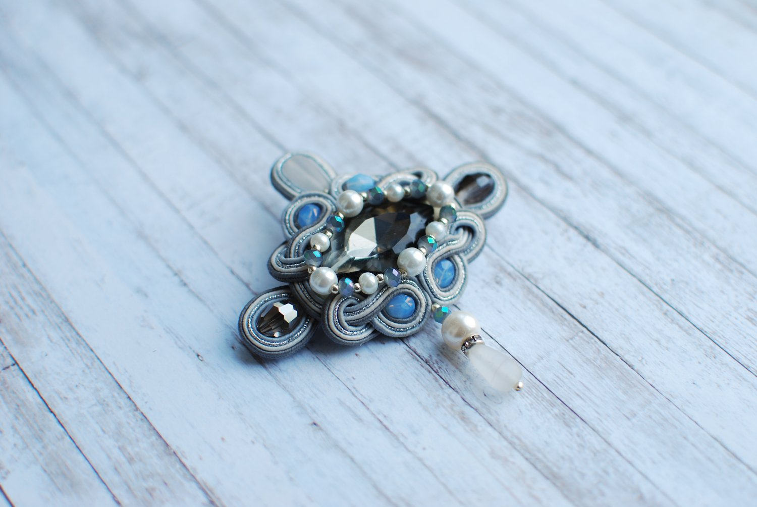 Soutache brooch, Grey, blue and white brooch, Crystal brooch, Beaded brooch, Embroidered brooc