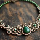 Soutache statement necklace, Green and beige necklace, Soutache jewelry, Embroidered necklace