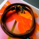 brown leather wrap bracelet with 2 star  charms
