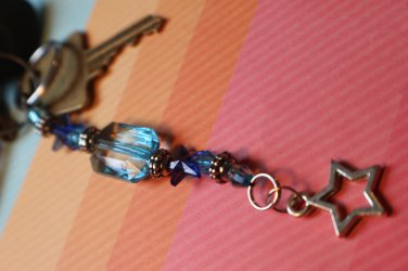 Blue beaded keychain star keychain long key chain with blue beads and a star charm