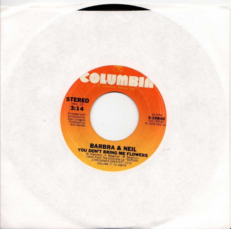 """BARBRA STREISAND & NEIL You Don't Bring Me Flowers 1978 US 2 Track 7"""" Vinyl Single"""