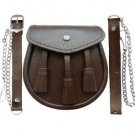 Half Dress Brown Cowhide Leather 3 Tassels Sporran with Belt and Chain